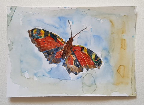 Original watercolor butterfly American colors artwork by Frits Ahlefeldt
