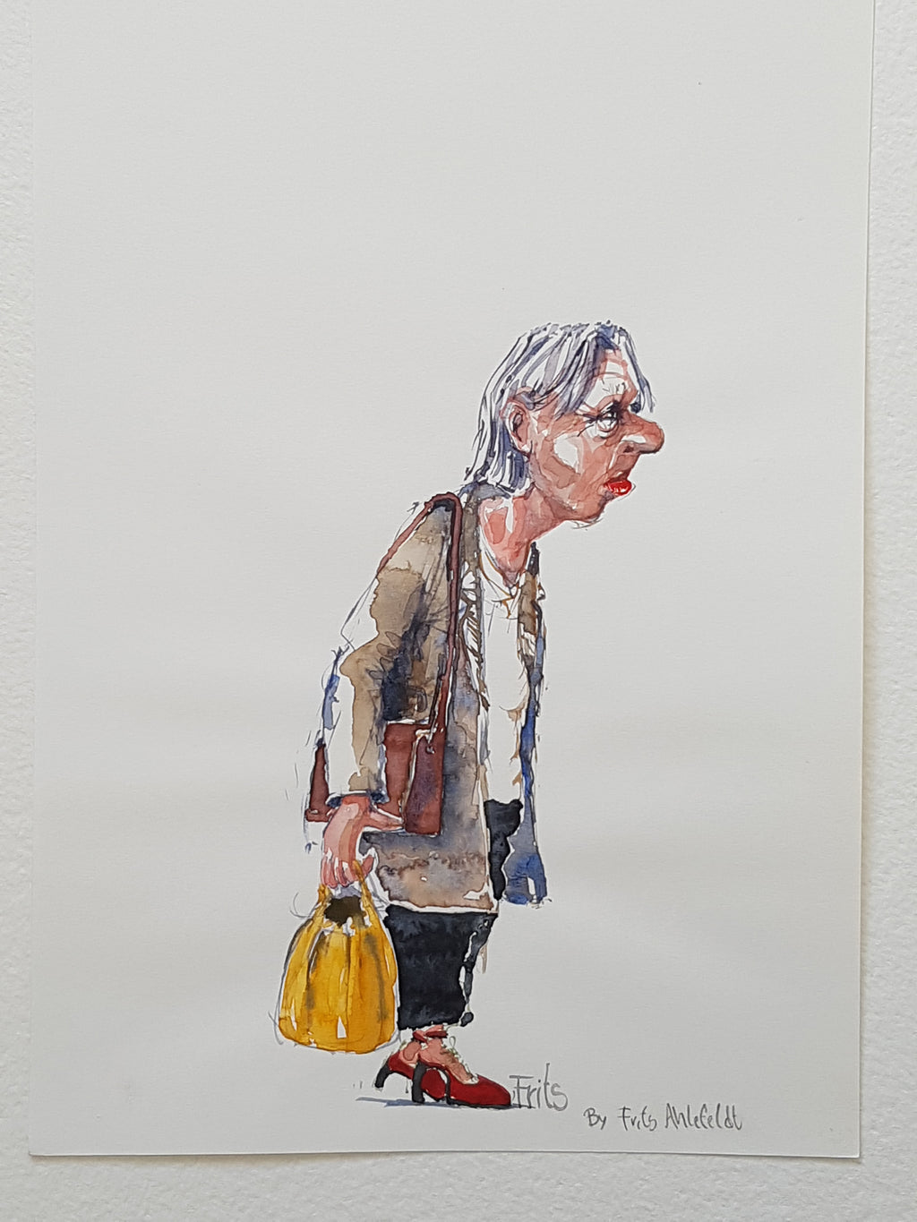 "Original ""old lady with yellow bag"""