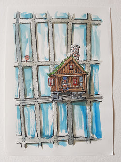 "Original ""little hut on a high rise building"""