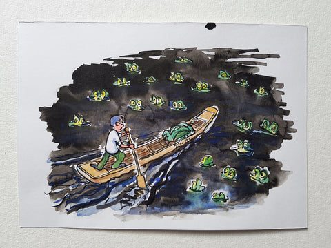 "Original ""Paddle at night between frogs"""
