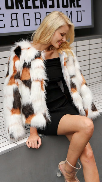 Mia Printed Fur Coat