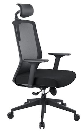 1A Bolt Highback Mesh Chair with Armrest - Full Black