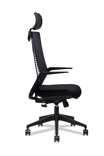 Theory Highback Mesh Chair with Armrest - Full Black