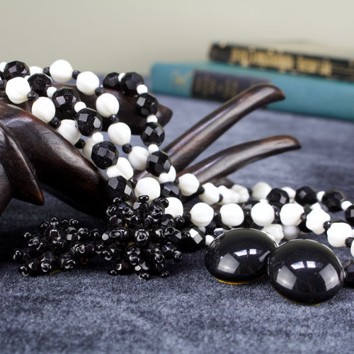 Long Glass Beaded Necklace and Earring Set in Black and White
