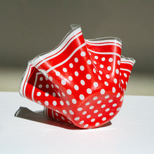 Chance Brothers, England: Glass Handkerchief Vase 'Polkadot'