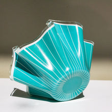 Chance Brothers, England: Glass Handkerchief Vase 'Cordon' in Aqua