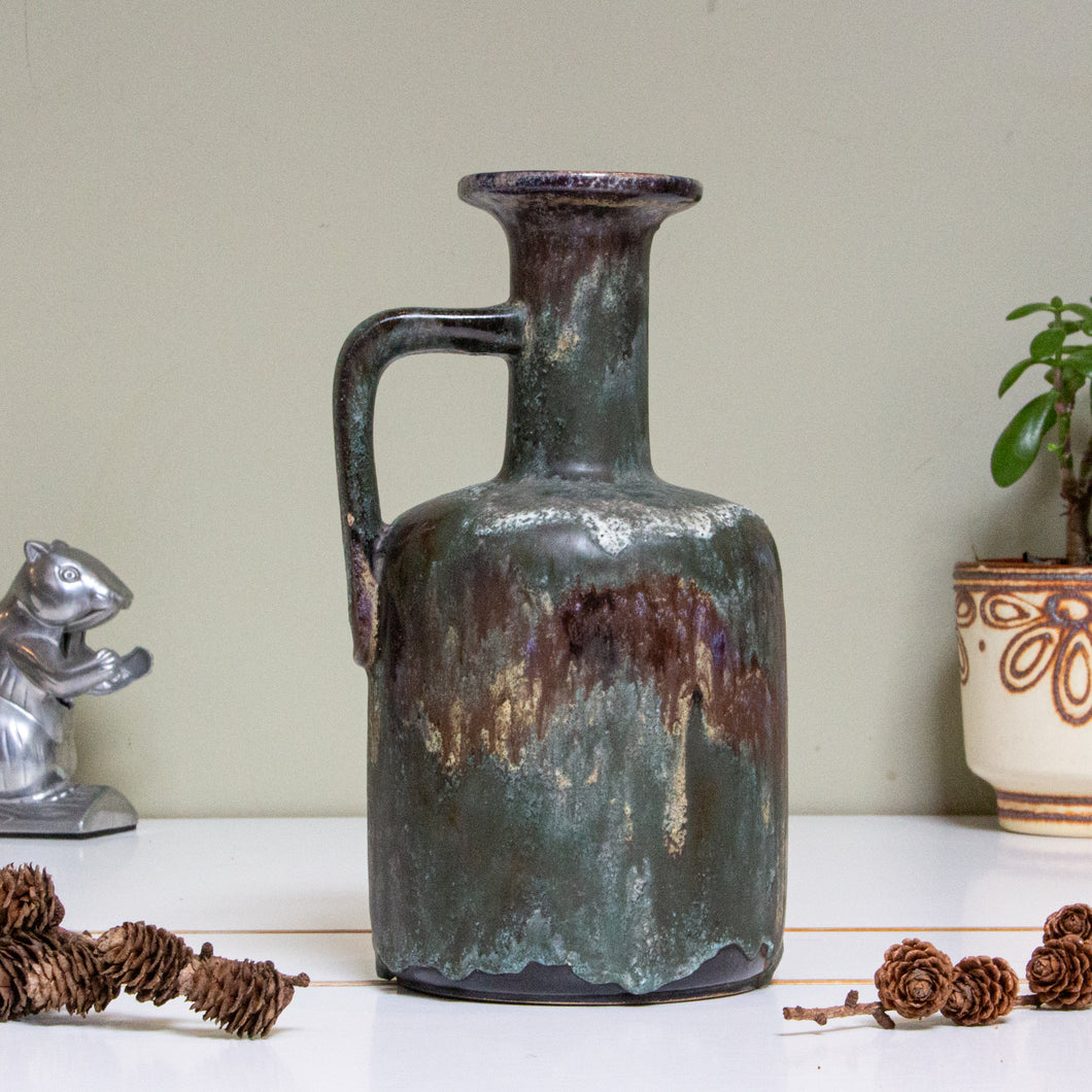 Ruscha, West Germany:  Vase R23 with Green Dripping Glaze