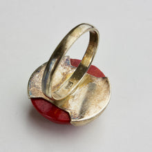 Modernist Lacquered Wood and Sterling Silver Ring
