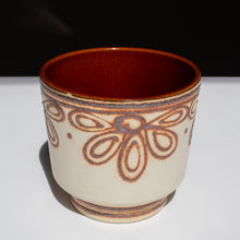 West German Vintage Plant Pot with Tube-Lined Floral Decor