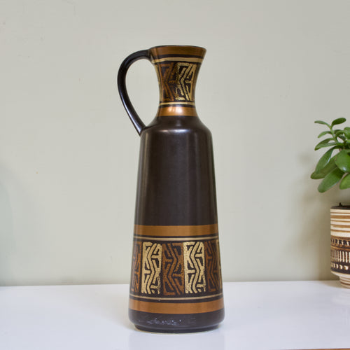 Dümler & Breiden, West Germany: Black Handled Vase 340 with Metallic Decor
