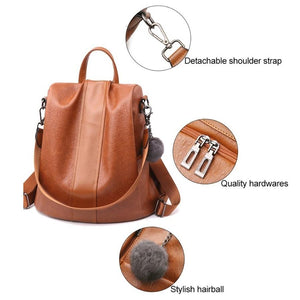 Anti-Thief Waterproof Soft Leather Casual BackPack Shoulder Bag With Large Capacity