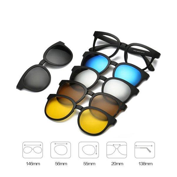 Magnetic Swappable Sunglasses [5 in 1 Lens]