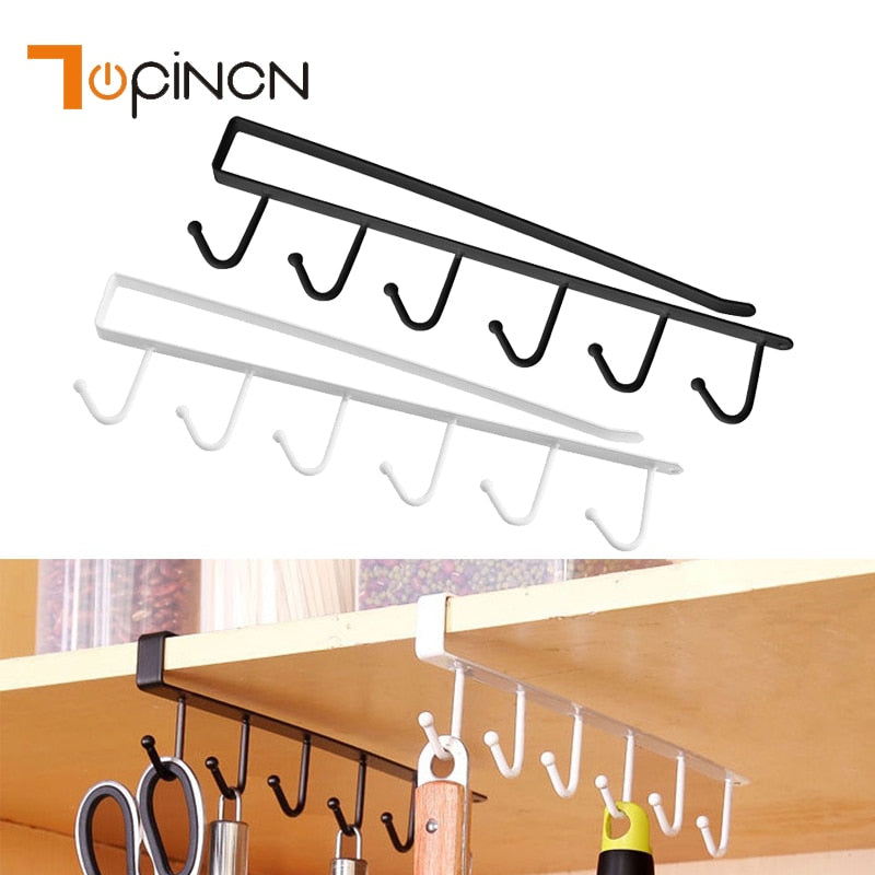 Iron Kitchen Bathroom Organizer Storage Shelf Multi-functional Cupboard Hanging Hook Shelves For Towel Chest Cup Drainer Holder