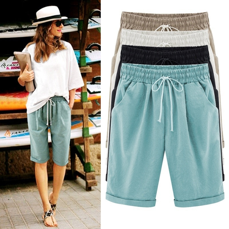 Women Lady Pirate Shorts Casual Elastic Waistband Loose With Pocket Fashion For Summer BS88