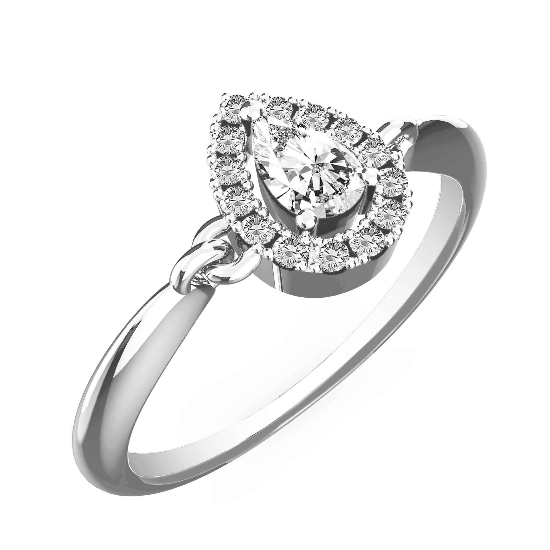 Linked Up Pear Diamond Halo Ring - KARP Jewellery