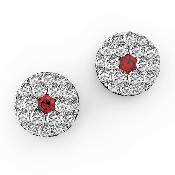Ruby & Diamond Circular Stud Earrings - KARP Jewellery