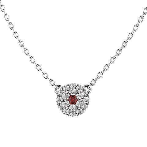 Ruby Round Diamond Necklace