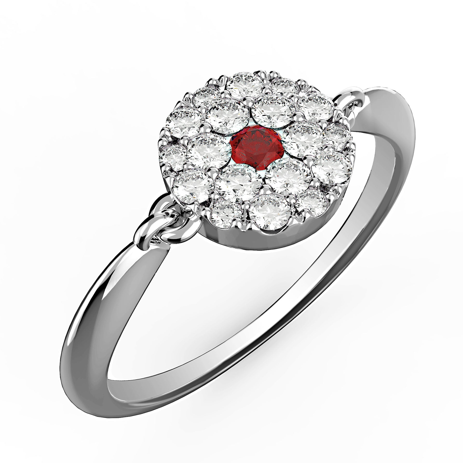 Round Ruby Dot Diamond Ring - KARP Jewellery