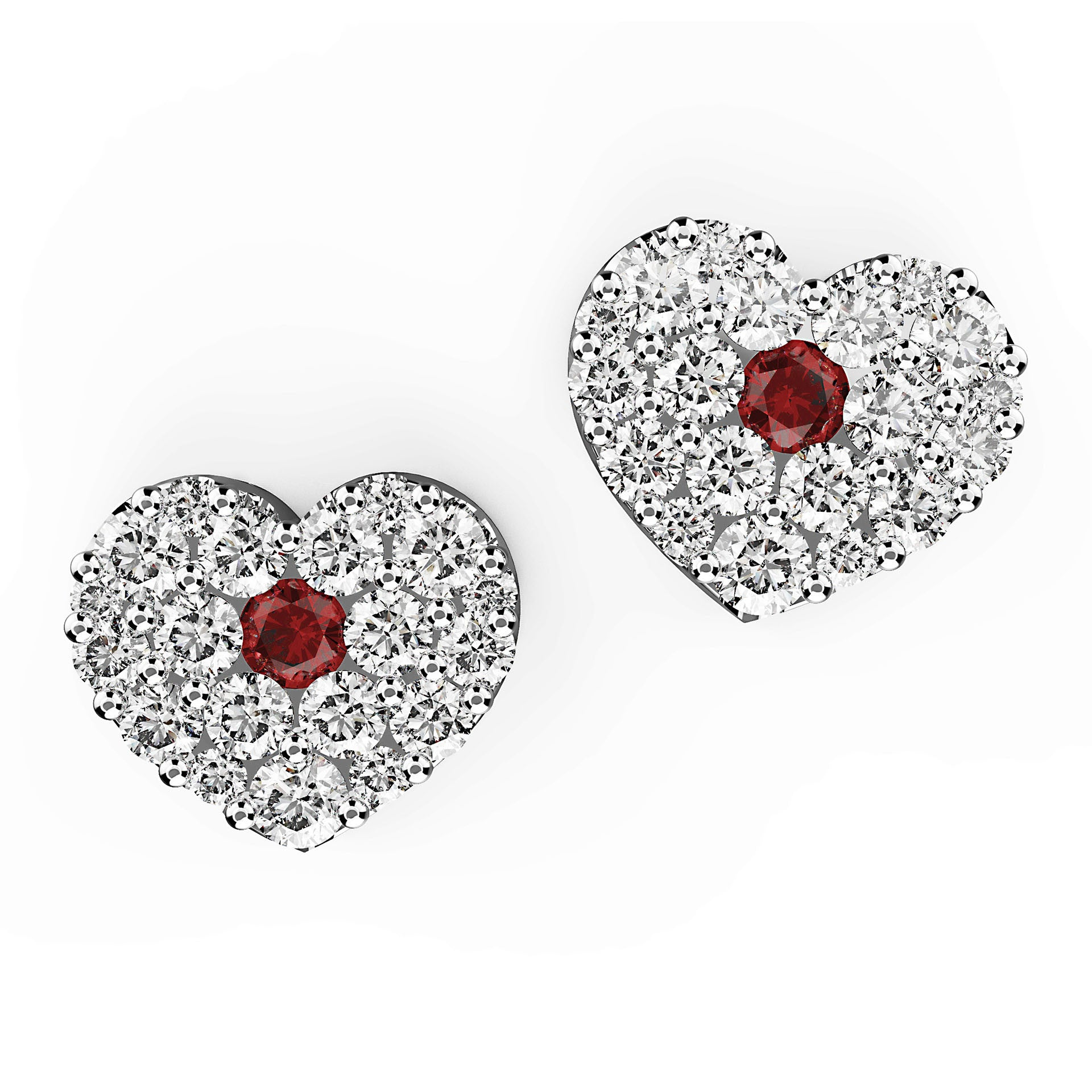 Ruby & Diamond Heart Stud Earrings - KARP Jewellery