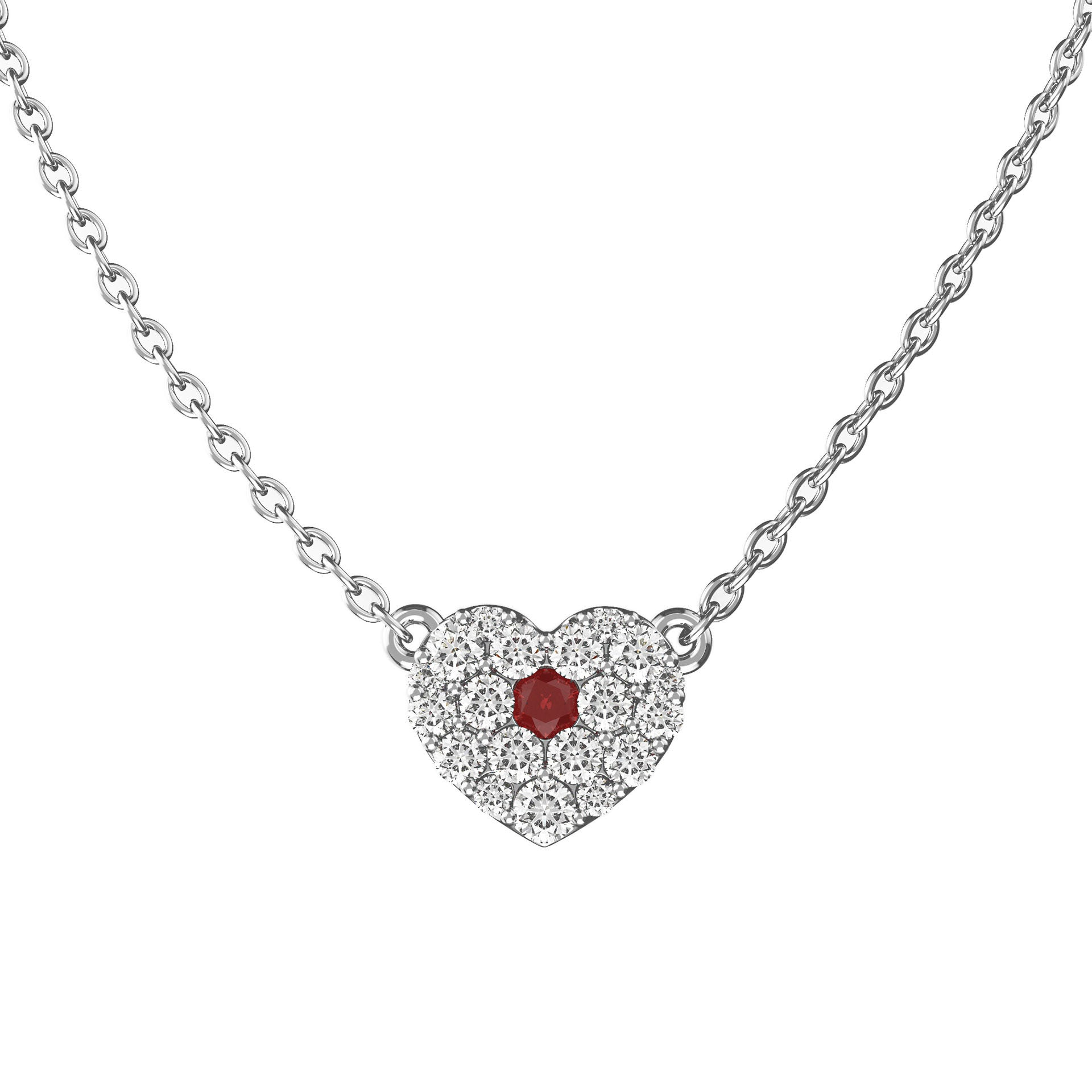 Diamond & Ruby Heart Necklace - KARP Jewellery
