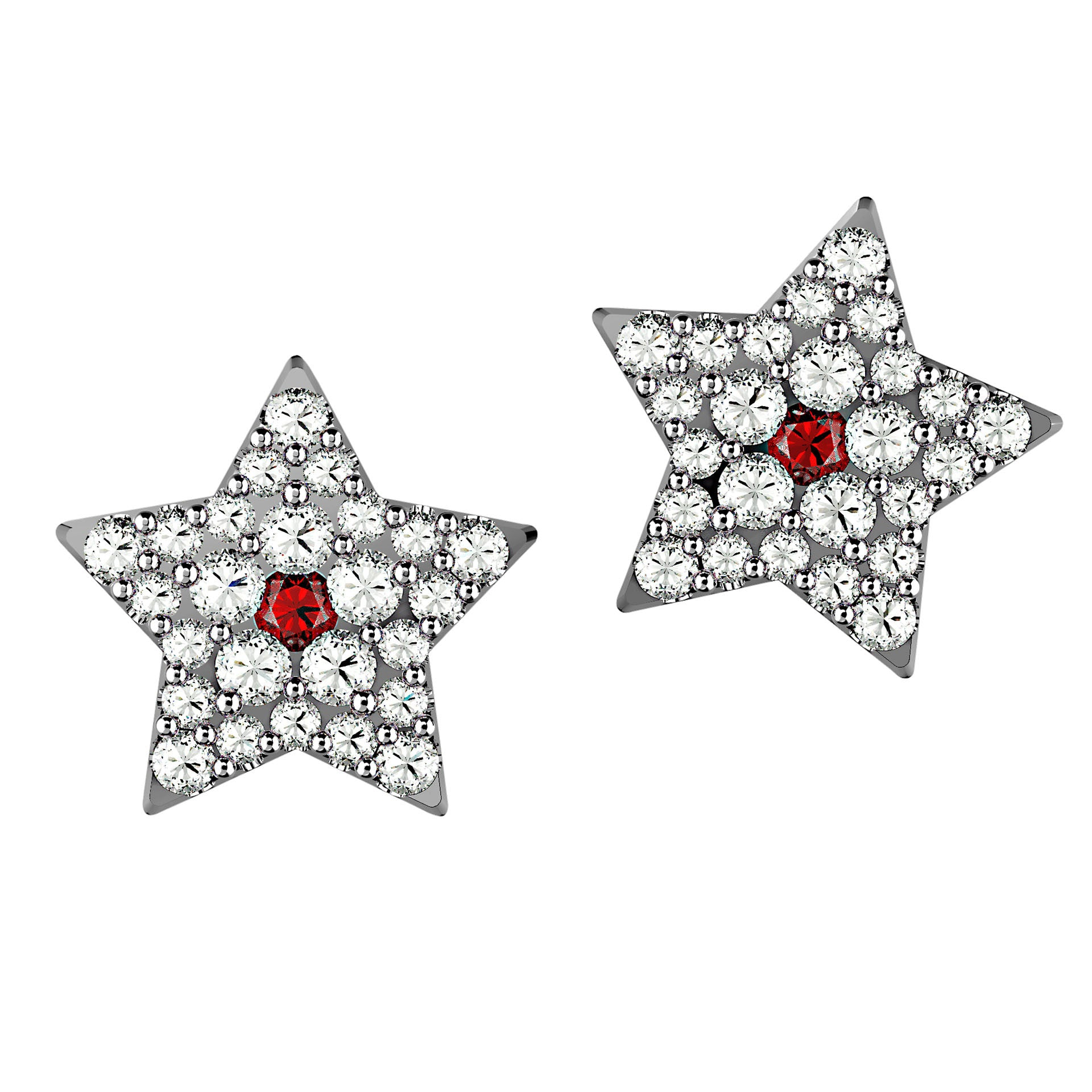 Ruby Red & White Diamond Star Studs - KARP Jewellery