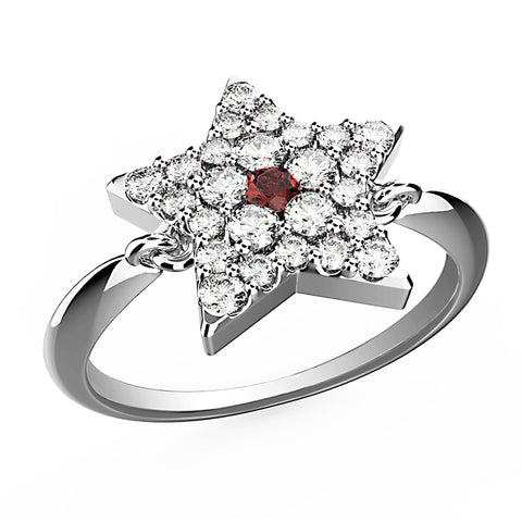 Ruby Dot Five Point Star Ring