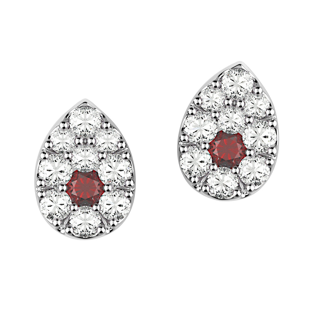 Pave Pear Ruby Eye Stud Earrings