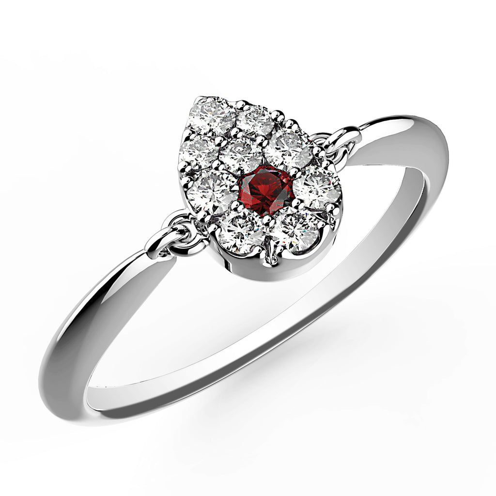Ruby Dot Pear Diamond Ring - KARP Jewellery