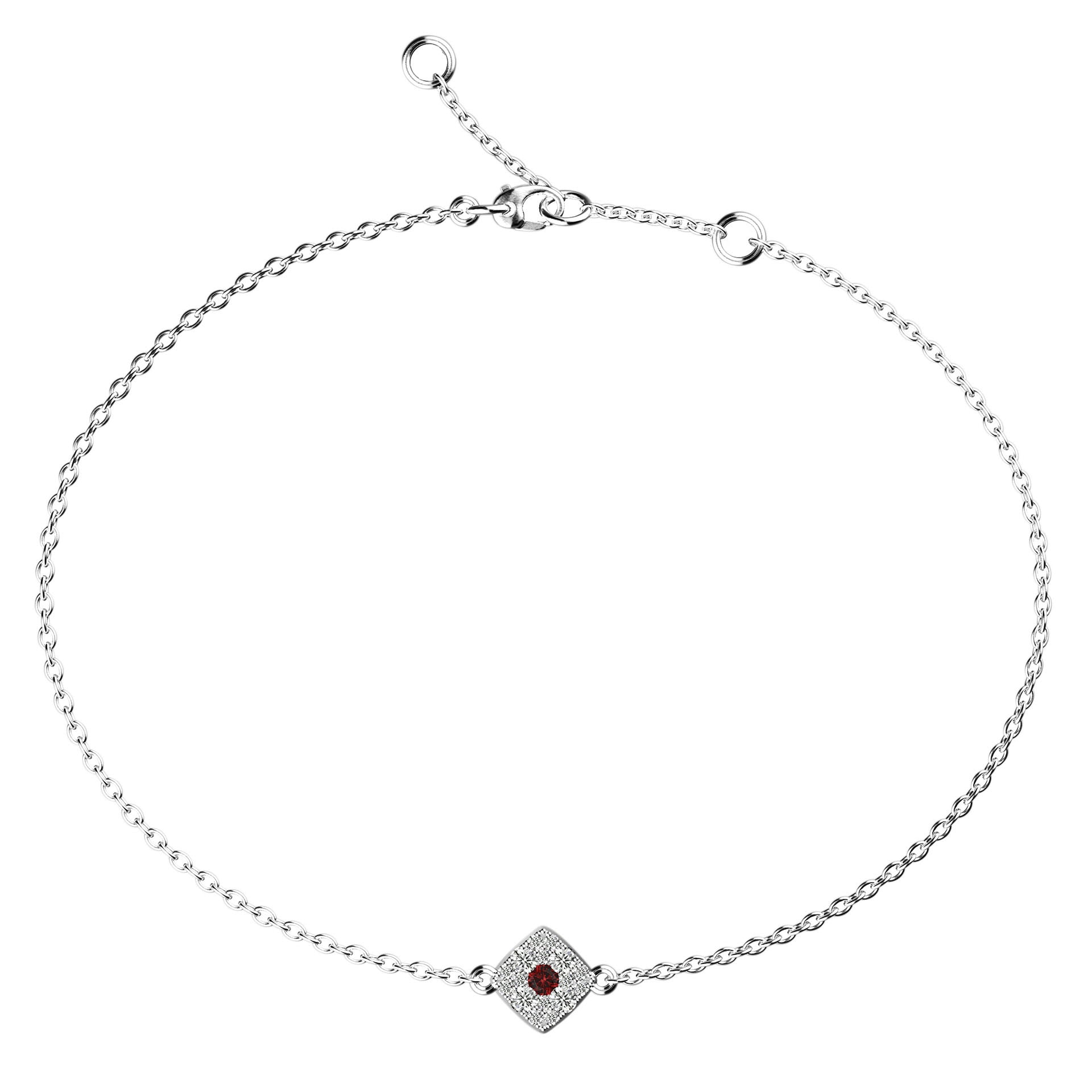 Cushion Eye Pendant Ruby Bracelet - KARP Jewellery