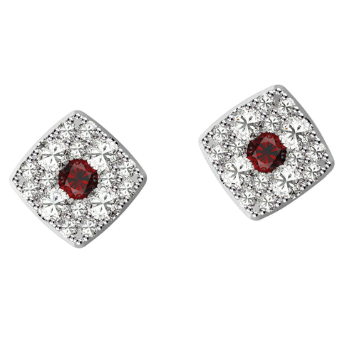 Captivating Cushion Cut Ruby Studs