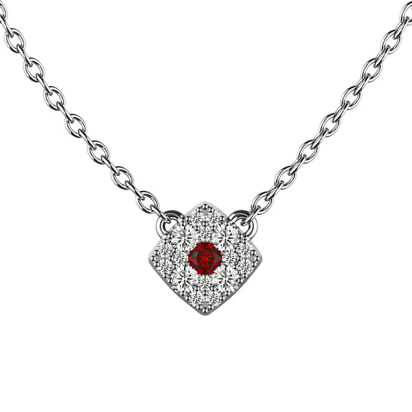 Ruby Red Cushion Eye Necklace - KARP Jewellery