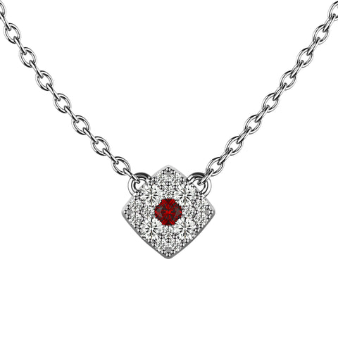 Ruby Red Cushion Eye Necklace