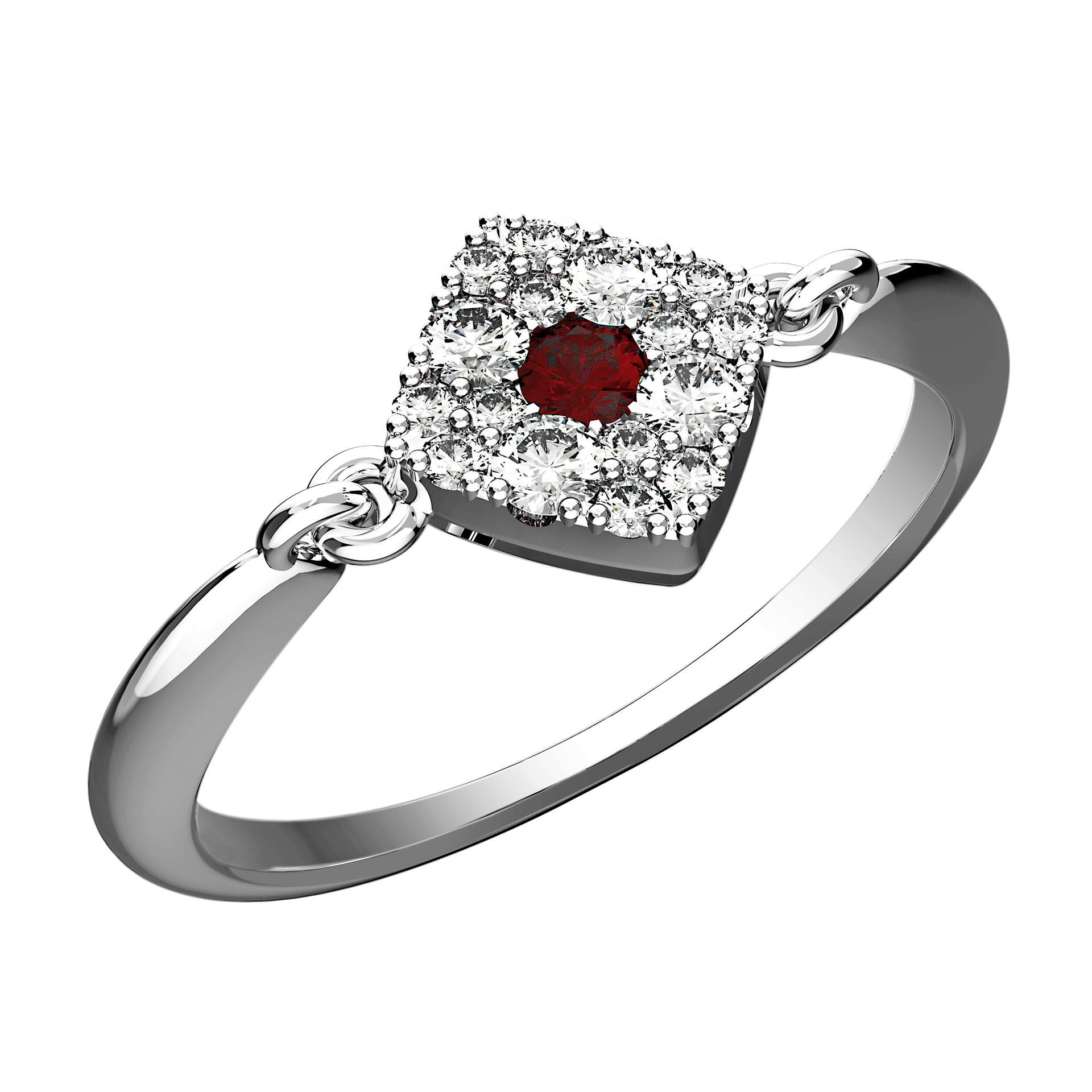 Square Cushion Ruby Dot Ring - KARP Jewellery