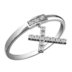 Diamond Cross Dangling Charm Ring