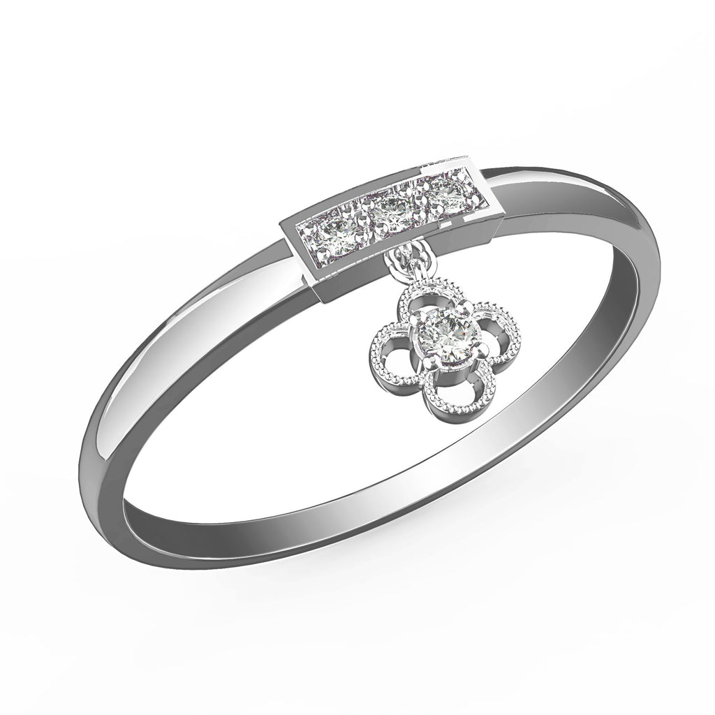 Lucky Clover Dangling Charm Ring - KARP Jewellery