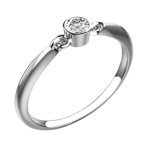 Round Bevel White Diamond Ring