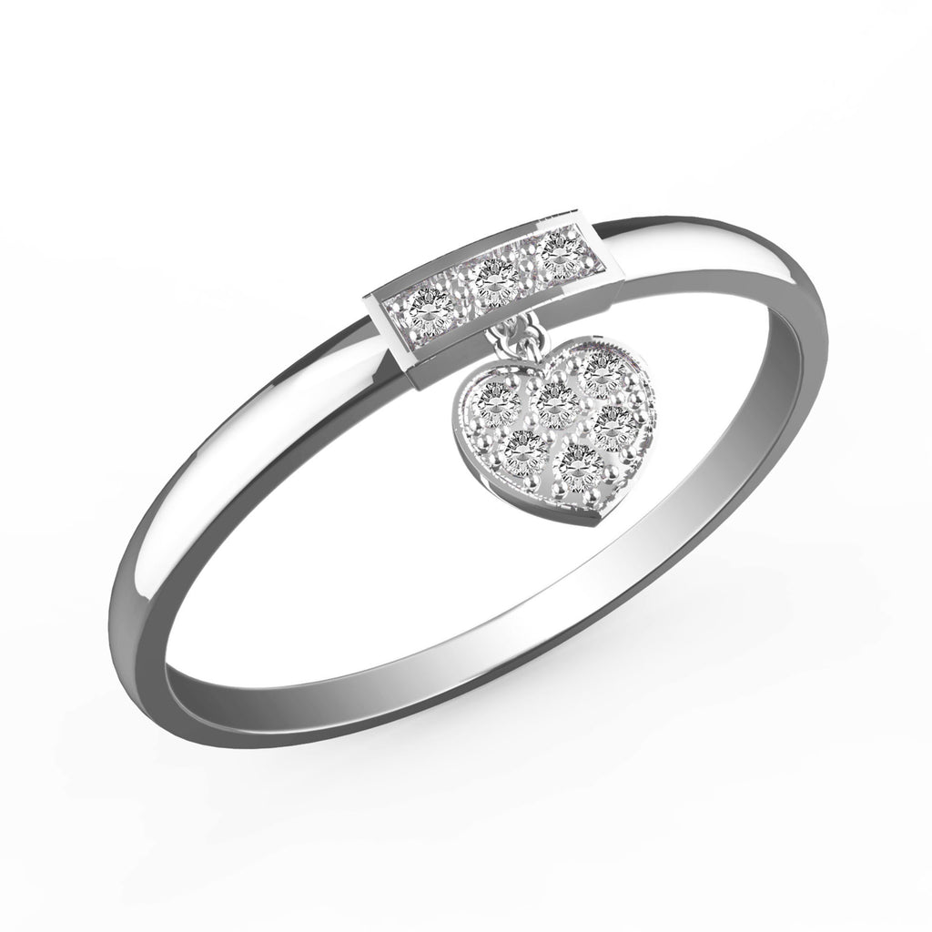 Dangling Diamond Heart Charm Ring - KARP Jewellery