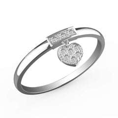 Dangling Diamond Heart Charm Ring