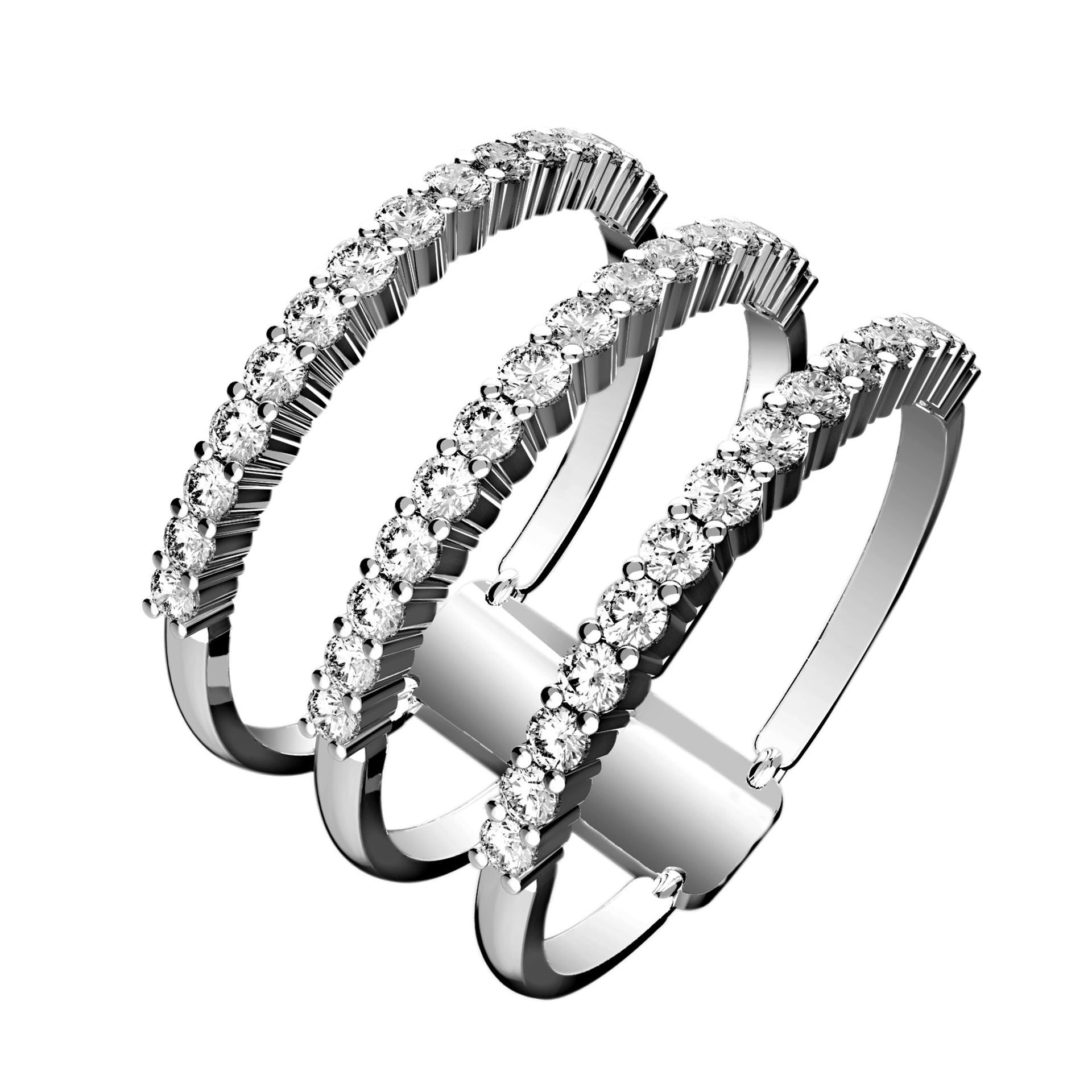 Triple Stacked Illusion Diamond Ring - KARP Jewellery