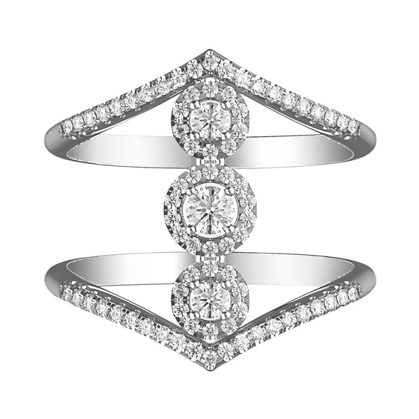 Trendy Triple Stacked Halo Diamond Ring - KARP Jewellery