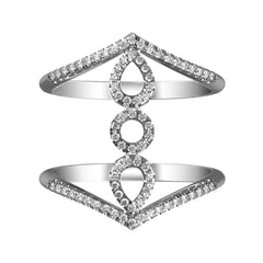 Stacked Trio Diamond Halo Ring