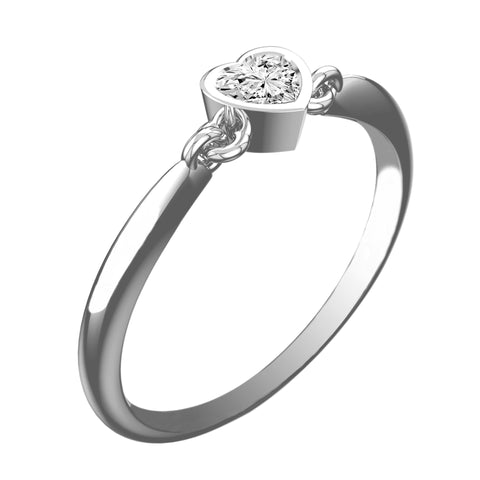 Linked Heart White Diamond Ring