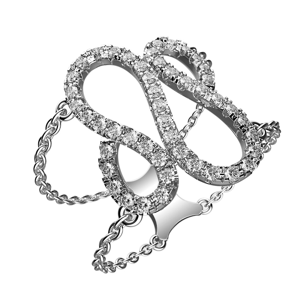 Wavy Tear Drop Diamond Ring - KARP Jewellery