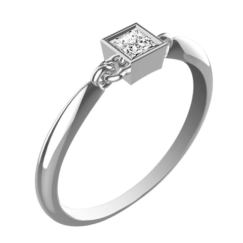 Beveled Princess White Diamond Ring