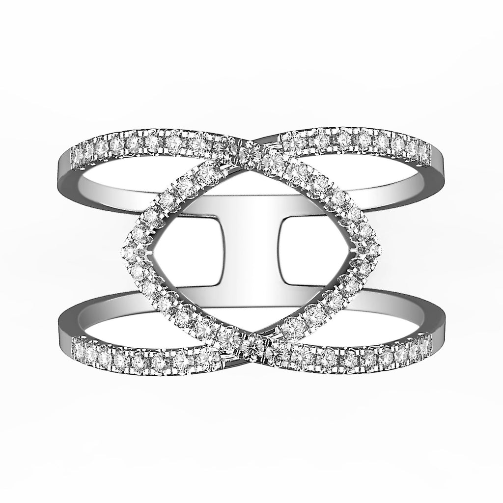 Diamond Cutout Stacked Illusion Ring