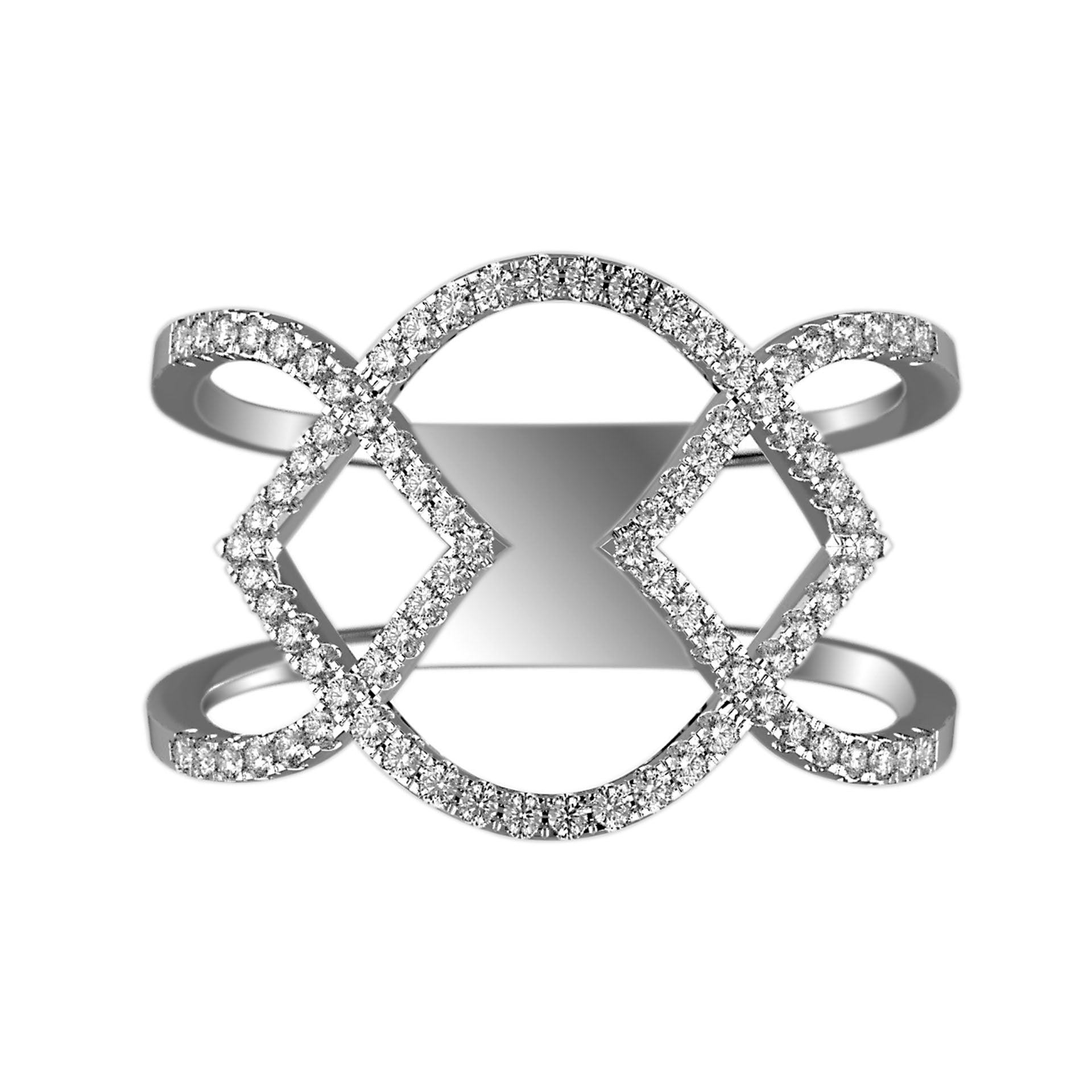 Crisscrossed Arrows Diamond Cutout Ring - KARP Jewellery