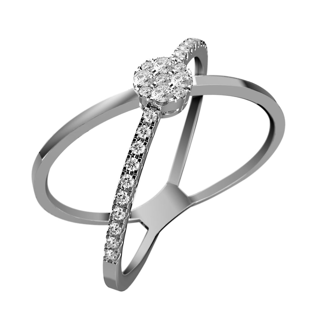 Intersecting Split Shank Diamond Ring - KARP Jewellery