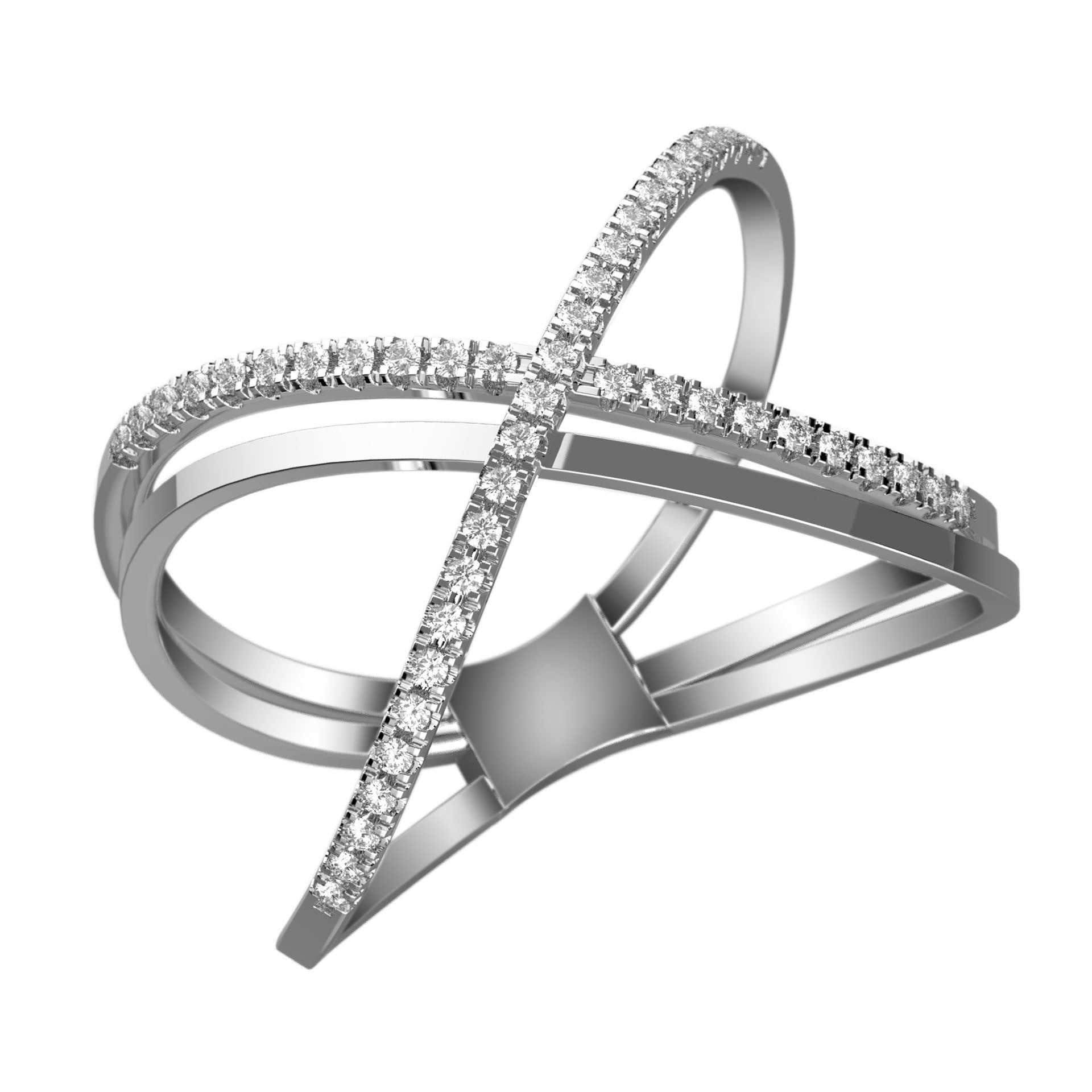 Double Crossed Diamond X Ring - KARP Jewellery