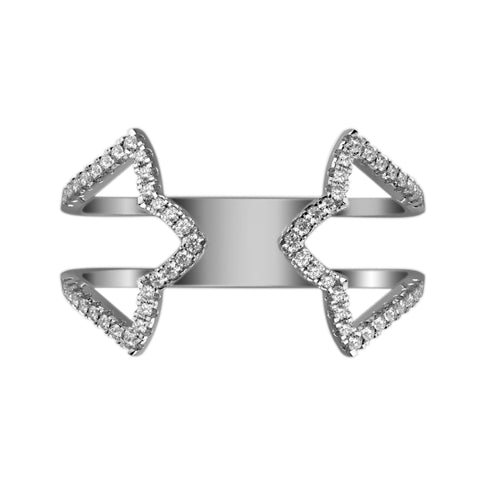 Diamond Cutout Hugger Ring