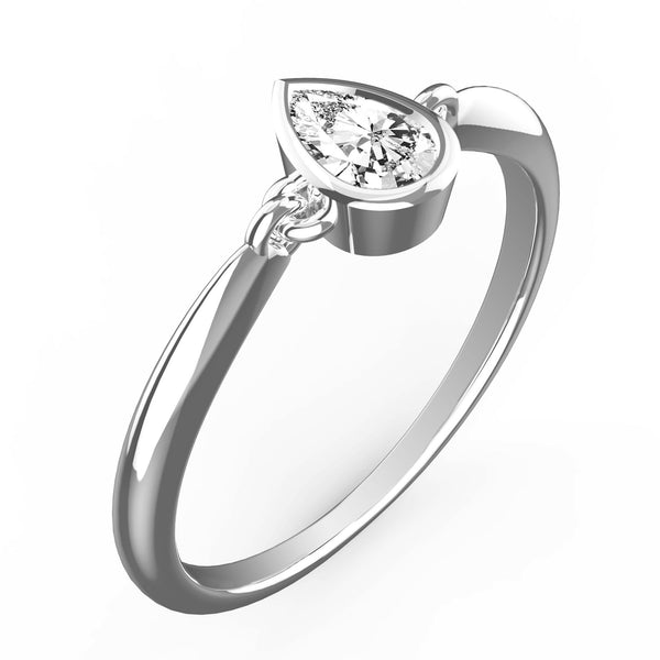 Posh Pear White Diamond Bevel Ring - KARP Jewellery